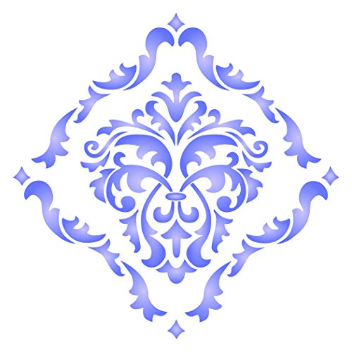"Damask Stencil - (size 14""w x 14""h) Reusable Wall Stencils for Painting - Best Quality Allover Wallpaper ideas - Use on Walls, Floors, Fabrics, Glass, Wood, Terracotta, and More……"