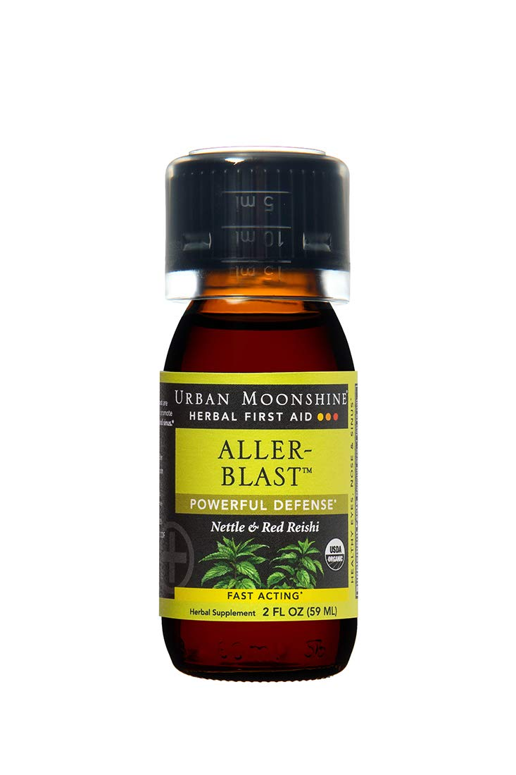 Urban Moonshine Aller Blast Organic Herbal First Aid Supplement with Nettle Red Reishi Fast-Acting Powerful Defense 2 FL OZ Pack of 3