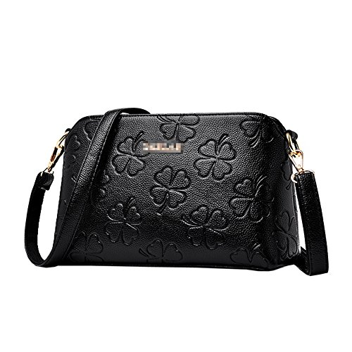 KYOKIM Femmes Pu Pu Cuir Imprimé Satchel Sac à Bandoulière Lady Mode Casual Fourre-Tout Zipper Sac À Main Bandoulière Multicolore Black