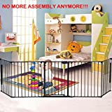 FCH UPGRADED NO NEED ASSEMBLY 5 Panel Metal Elegant Fireplace Fence Guard/Sturdy Baby Play Pen/Wide Barrier Gate Black 30 Inches Height