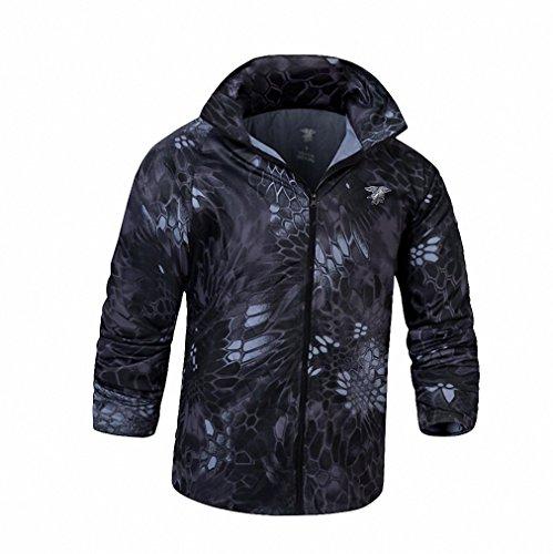NEW Men Fashion Long Sleeved Bomber Jacket Tactical Military Camouflage Sunscreen Jacket Coat Black Snake XXL
