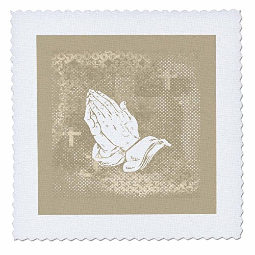 3dRose qs_180929_4 Praying Hands with Crosses, Sepia and White-Quilt Square, 12 by 12-Inch