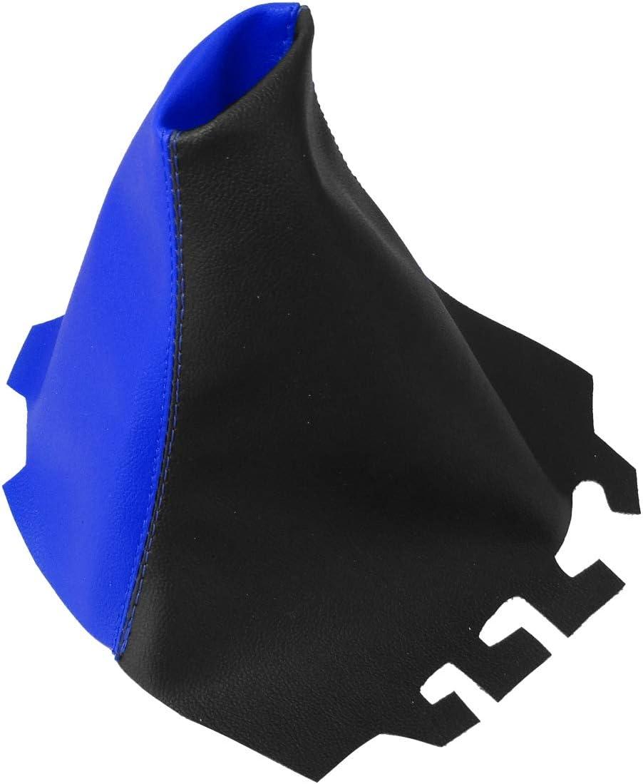 AERZETIX Funda para palanca de cambios de piel sint/ética con costuras de colores variables negro y azul