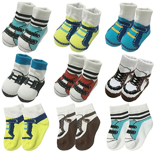 6 Pairs 0-12 month Baby Newborn Ankle Sock Toddler Crew Walkers Bootie Infant Socks (Mixed style 2)