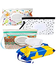 Wipes Pouch, 4pcs Portable Refillable Wipe Holder, Baby Wipes Container, Wipe Dispenser, Reusable Travel Wet Wipe Pouch