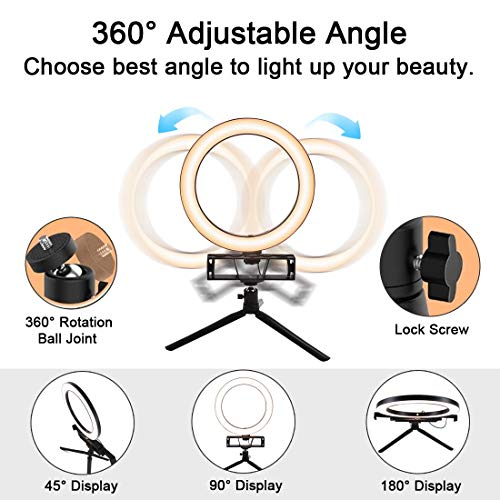 Polarpra Desktop Selfie Ring Light with Tripod and 3 in 1 Phone Holders, Portable 10\