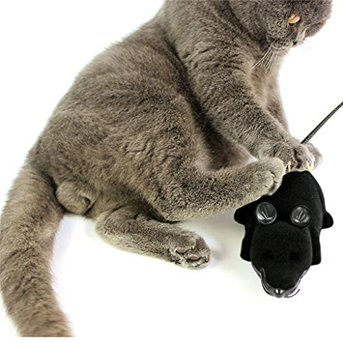Electronic Interaction Fun Cat and Mouse Toy, Cat Has Played Magical, (Wireless Remote Control) Simulation Mouse Electric Pet Toy, Life is so Interesting (Black)