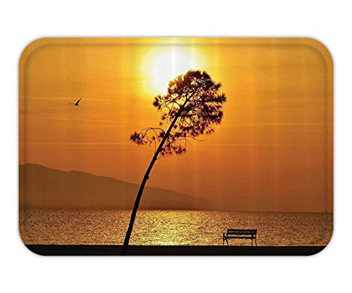 Beshowere Doormat Farm House Decor Set Lonely Sunset Tree by the Sea Sun Disappearand Day Light FDown Twilight Concept Bathroom Accessorie Extralong (Twilight Tye Dye)