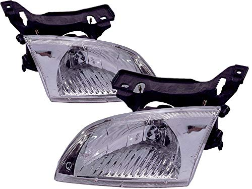 For 2000 2001 2002 Chevrolet Chevy Cavalier Headlight Headlamp Assembly Driver Left and Passenger Right Side Pair Set Replacement GM2502202 GM2503202
