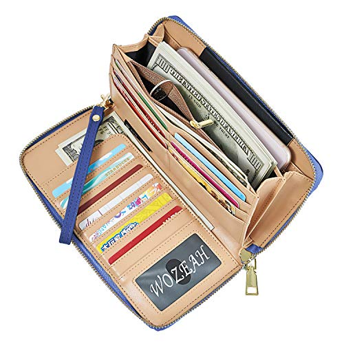 WOZEAH Women's RFID Blocking PU Leather Zip Around Wallet Clutch Large Travel Purse (sea blue)