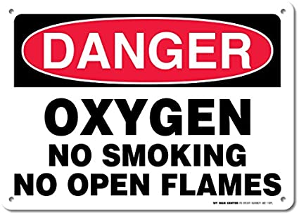 Peligro oxígeno no smoking no Llamas de fuego Cartel - 10 ...