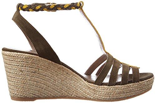 Bensimon Women's Compensee Tressee Platform Sandals Green (Kaki 617) Px3g4lS3PD