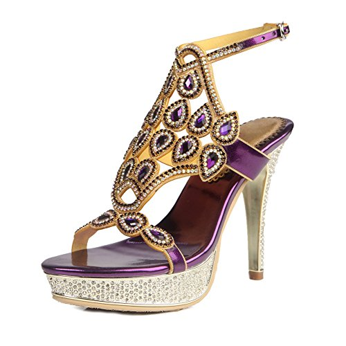 ZPL Mujeres Señoras Mid Low High Heel Strappy Diamante Party Prom Prom Sandalias Zapatos Tamaño Purple