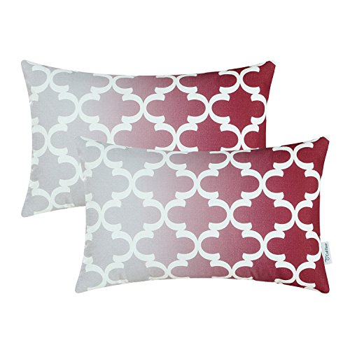 Pack-of-2-CaliTime-Throw-Pillow-Covers-Gradient-Quatrefoil-Accent-Geometric