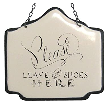 America Retold White Enamel Sign, Leave Your Shoes Here, 6