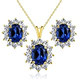 3.20 Ct Blue Simulated Sapphire 18K Yellow Gold Plated Silver Pendant Earrings Set