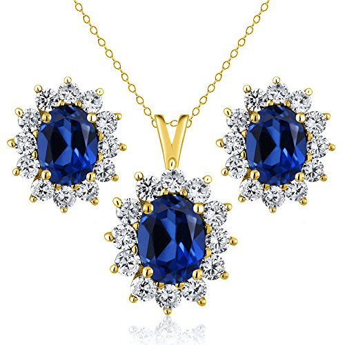 3.20 Ct Blue Simulated Sapphire 18K Yellow Gold Plated Silver Pendant Earrings Set by Gem Stone King