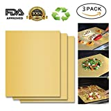 #1: BBQ Grill Mat Set of 3 by SOMOLUX ,Gold 100% Non-stick for Gas Charcoal Electric and More Heavy Duty and Easy to Clean, Portable and Reusable, 15.75 x 13 inch