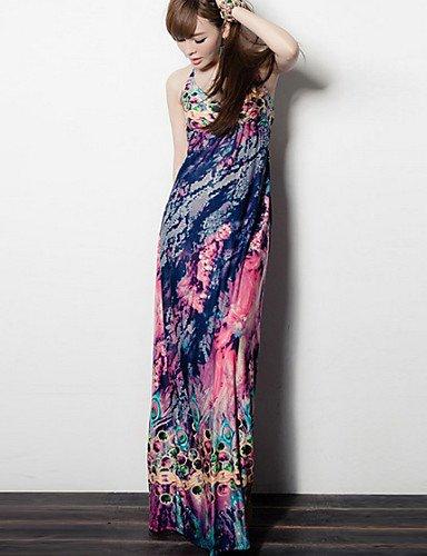 PU&PU Robe Aux femmes Gaine Street Chic,Fleur Col en V Maxi Coton / Polyester , purple-l , purple-l