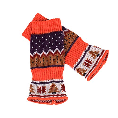 SEniutarm Long Fingerless Knitted Gloves Men Women Christmas Tree Print Arm Warmer Mittens