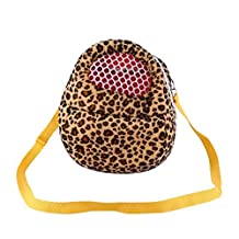 Three Size Small Pets Carrier Bag Hedgehog Hamster Mouse Outgoing Bags Leopard Portable Travel Backpack With Strap , Three Color ( Color : Yellow , Size : M(18CM×22CM) )