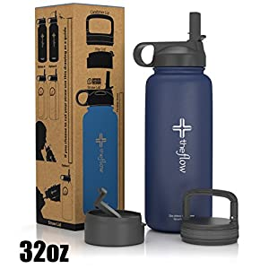 the flow Stainless Steel Water Bottle Double Walled/Vacuum Insulated - BPA/Toxin Free – Wide Mouth with Straw Lid, Carabiner Lid and Flip Lid, 32 oz.(1 Liter) Denim blue