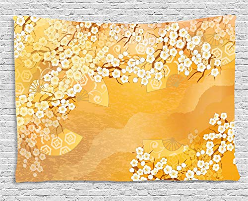 Ambesonne Asian Tapestry, Japanese Cherry Blossom Sakura Tree Branches Ethnic Ancient Blooms Artwork, Wall Hanging for Bedroom Living Room Dorm, 80 W X 60 L Inches, Marigold and ()