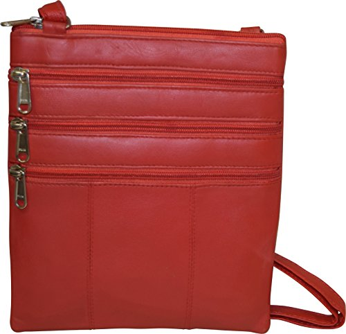 Multi London Genuine Women's Pocket Bag Leather Red Crossbody Stitch RWzWUxrnI