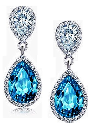 - LiveSublime Elegant Rhinestone Teardrop Dangle Earrings (sky blue)