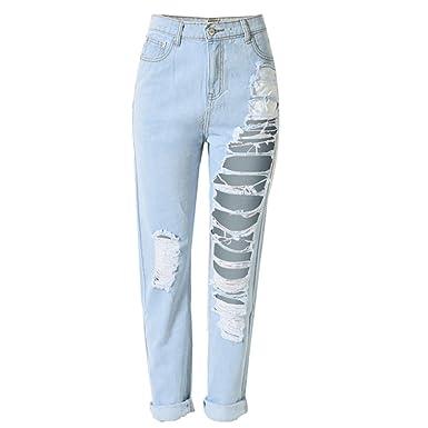 a502265cb5fe Laixing Gute Qualität Trendy Sexy Women s Holes Ripped Baggy Jeans Denim  Pants T-SL022  Amazon.de  Bekleidung
