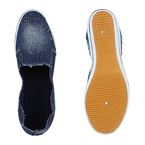 Damen Keilpumps Wedges Canvas Schuhe Pumps Keilabsatz Flandell Dunkelblau Nieten
