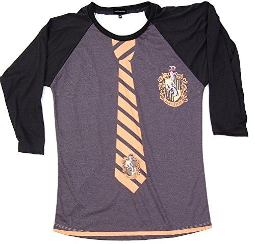 [Harry Potter Hufflepuff Uniform T-Shirt Everytees White Long Sleeve Baseball Raglan T-Shirt Gift for Women] (Dobby Harry Potter Costumes)
