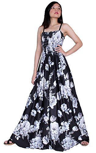 Women Floral Plus Size Clothing Maxi Dress Cotton Casual Long Sexy Summer Sundress (3X-Long 57 inch, Black White Floral)