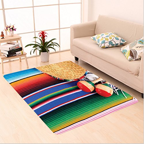 Natural Straw Sombrero (Nalahome Custom carpet on Mexican Artwork with Sombrero Straw Hat Maracas Serape Blanket Rug Image Green Blue Red Ivory area rugs for Living Dining Room Bedroom Hallway Office Carpet (5' X 7'))