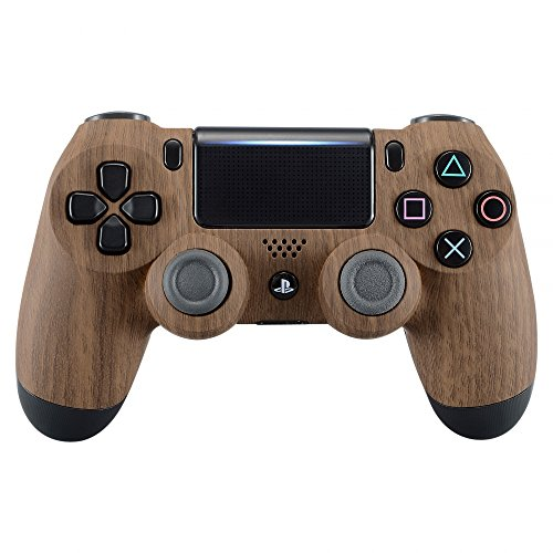 eXtremeRate Patterned Soft Touch Replacement Front Housing Shell Faceplate for PS4 Slim PS4 Pro Controller JDM-040 (Wood Grain)