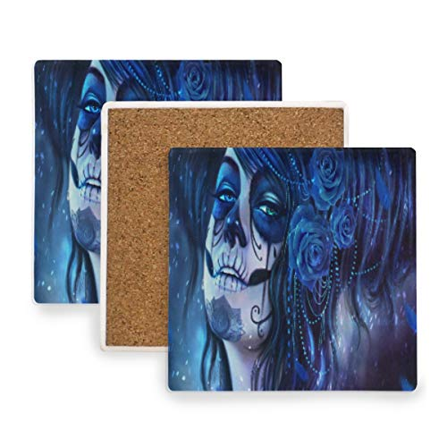 (Large Square Drink Coasters,Women Face Fantasy Art Ceramic Thirsty Stone With Cork Back Cup mats Protect Your Furniture From Spills, Scratches, Water Rings and Damage 2 pcs)