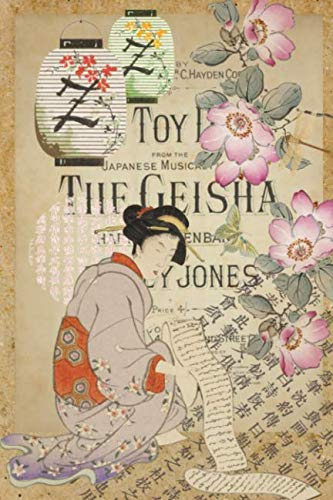 Dot Grid Journal - Vintage Japanese Art Collage - Woman With Scroll: Layered Flowers, Lanterns & Japanese Script - Stationery Notebook Diary