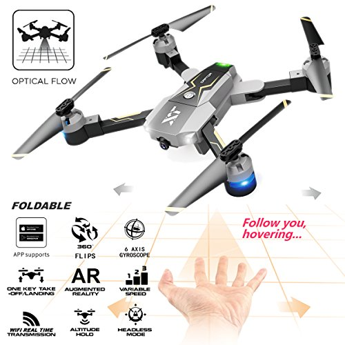 ATTOP XT-Pack 8 Optical Follow FPV RC Drone with Camera Live Video Foldable Quadcopter - One Key Take Off, Altitude Hold,Follow Me by Attop