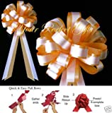 your_perfect_gifts GOLD ORANGE WHITE WEDDING 8'' PULL PEW BOWS BRIDAL FAVOR