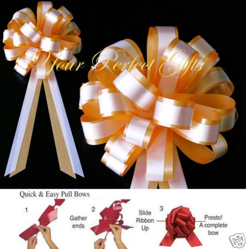 your_perfect_gifts GOLD ORANGE WHITE WEDDING 8'' PULL PEW BOWS BRIDAL FAVOR by your_perfect_gifts (Image #1)