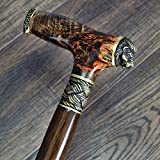 oleksandr.victory Canes Walking Sticks Wood Reeds Bronze Wooden stabilized BURL Handmade Cane Stick Men's Accessories Lion