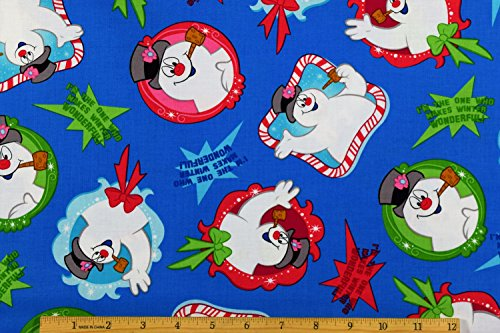 Frosty The Snowman Fabric Frosty Patch Toss with Quotes Fabric in Blue 100% Cotton Fabric by The Yard ()