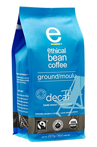 Ethical Bean Coffee Decaf: Single Origin Dark Roast Ground Coffee - USDA Certified Organic Coffee, Fair Trade Certified - 8 ounce bag