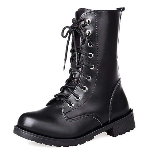 Uirend Zapatos Botas Mujer - Martin Boots Cordones Estilo Militar Combate Botines: Amazon.es: Zapatos y complementos