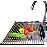 """KONYON Roll-Up Dish Drying Rack,Foldable Stainless Steel Large Dish Rack For Sink-Black(18""""x15"""")"""