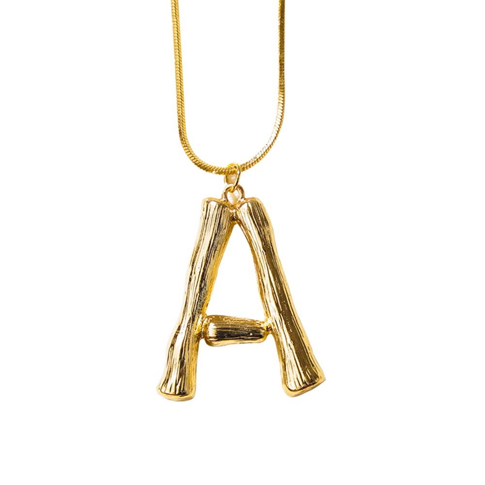 Dolovely 26 3D Letter Charm Bamboo Pendants Initial Necklace for Women Men Girls Gold Plated Snake Chain ALETTERG-US