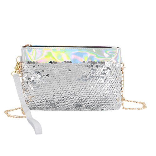 Women's Naimo Evening Purse Sequin 714 Mermaid Glitter Bag Bling Holographic Clutch Silver FFxXdrOq