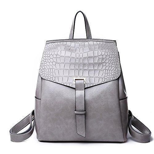 Grey Girl Backpacks Pu Women Shoulder Laptop Waterproof 2 School Notebooks Leather Fashion Rucksacks Bag Style Xnx6TEw