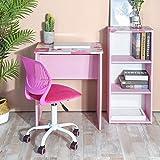 GreenForest Kids Desk with 3 Tier Storage Shelf Wood Computer Laptop Desk Set for Girls Study Desk Set Pink