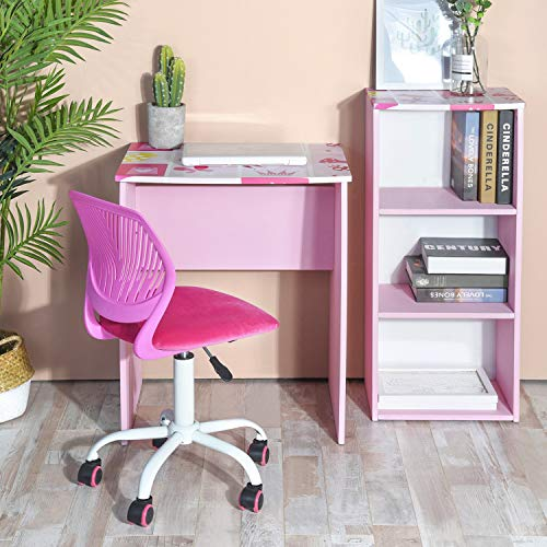 GreenForest Kids Desk with 3 Tier Storage Shelf Wood Computer Laptop Desk Set for Girls Study Desk Set Pink